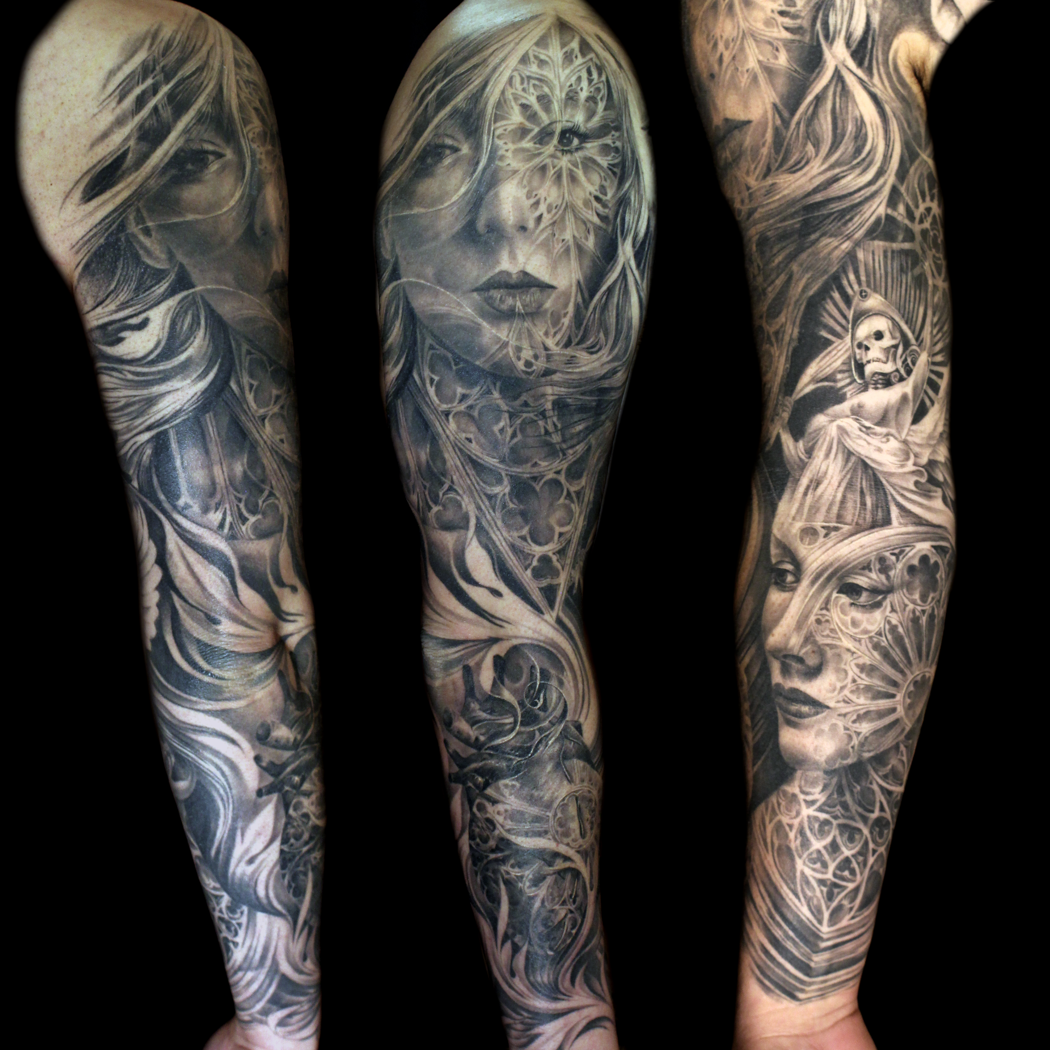 Face Sleeve Tattoo: Cathedral-rosewindow-face-morph-sleeve-tattoo-mancia